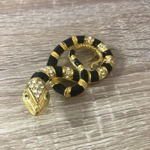 Vintage brooch snake gold plated crystal rhineston